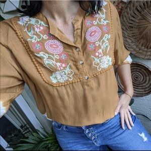 Studio West PXL Embroidered Tie Dye Tunic Top